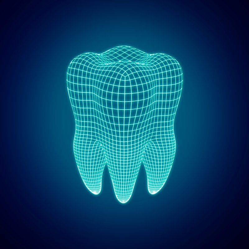 Digital render of tooth representing digital impression